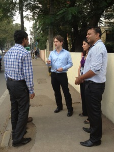 "Ethan McCarty of IBM with some of the IBMers who cleaned up Bangalore with the ""Ugly Indian"" project"